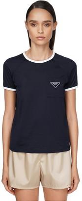 Prada Cotton Jersey T-shirt W/triangle Logo