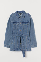 H&M Tie-Belt Denim Jacket - Blue