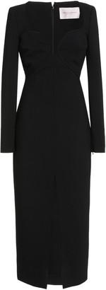 Carolina Herrera Open Neckline Double Wool Midi Dress