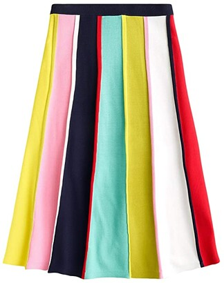 J.Crew Multicolor Stripe Flare Sweater Skirt (Navy Bohemian Rose Multi) Women's Skirt