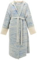 Loewe Longline Boucle-knit Cotton-blend Hooded Cardigan - Womens - Blue