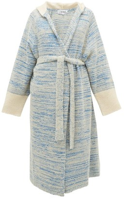 Loewe Longline Boucle-knit Cotton-blend Hooded Cardigan - Womens - Blue