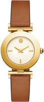 Tory Burch SAWYER TWIST ROUND WATCH, BROWN/ORANGE LEATHER, GOLD TONE, 29 X 29 MM