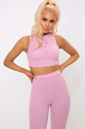 I SAW IT FIRST Pink Ribbed Scoop Cropped Top