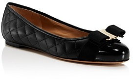 Salvatore Ferragamo Women's Varina Quilted Leather Cap Toe Ballet Flats