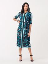 Diane von Furstenberg Sogol Crepe Midi Shirt Dress