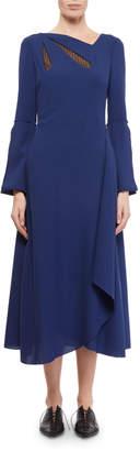 Roland Mouret Oreti Long-Sleeve Netted Keyhole Dress