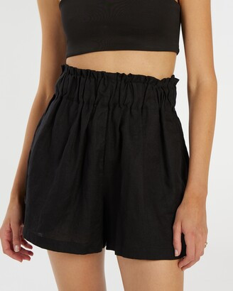 AERE - Women's Black High-Waisted - Linen Lounge Shorts - Size 6 at The Iconic