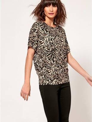 M&Co Tiger print batwing top