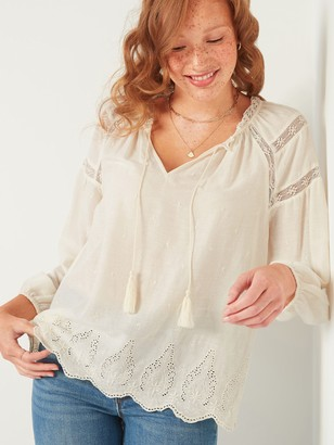 Old Navy Lace-Trim Tie-Neck Poet Blouse for Women