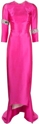 Seen Users Satin Ruched Back Crystal-Embellished Gown