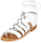 Neiman Marcus Amorie Leather Lace-Up Sandal, White