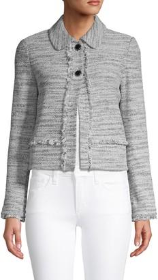 St. John Frayed-Trim Textured Jacket