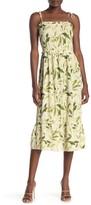 Velvet Torch Tie Strap Ruffled Midi Dress