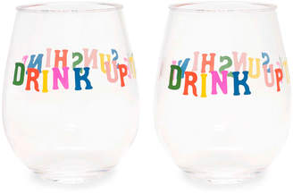 ban.do Party On Drink Up The Sunshine Wine Glasses, Set of 2