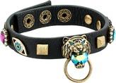 Betsey Johnson Tiger and Gold Station Black Leather Bracelet Bracelet