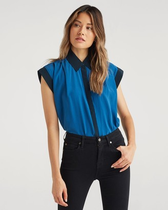7 For All Mankind Contrast Cuff Drop Shoulder Top in Cobalt Blue