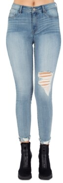 Rewash Juniors' Julie Ripped Roll-Cuff Jeggings