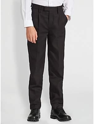 John Lewis & Partners Boys' Easy Care Adjustable Waist Tailored Fit School Trousers, Longer Length, Black
