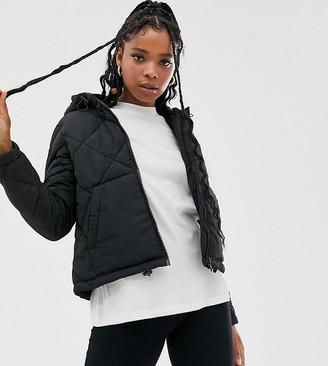 Noisy May grid padded hooded jacket
