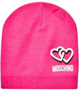 Moschino Kid-Teen Pink Knitted Branded Beanie Hat