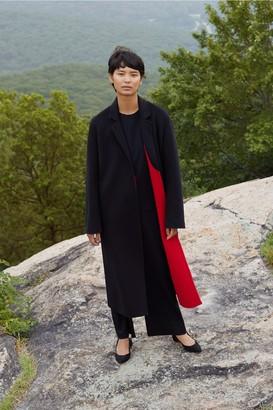 Mansur Gavriel Bicolor Wool Narrow Buttonless Coat - Black/Flamma