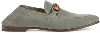 Gucci Men's suede Horsebit loafer with Web