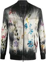 Avant Toi Floral Zipped Bomber Jacket