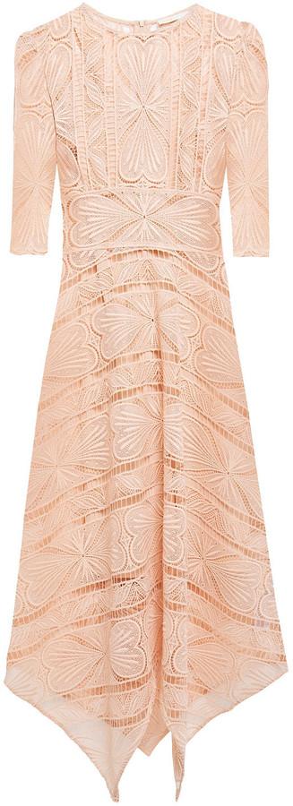 Maje Ripaz Asymmetric Macrame Lace Midi Dress