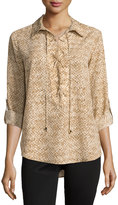 MICHAEL Michael Kors Snake-Print Lace-Up Tab-Sleeve Blouse, Dark Camel