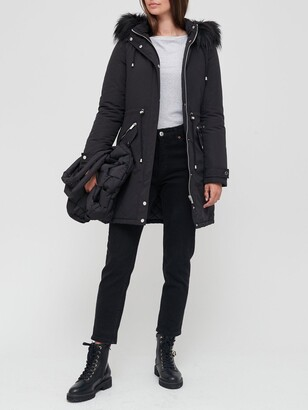 Very Ultimate Parka With Faux Fur Trim - Black
