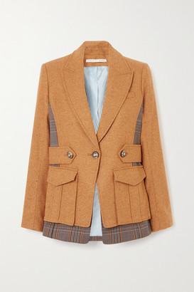 Veronica Beard Aitana Dickey Paneled Wool-blend And Checked Twill Jacket - Camel