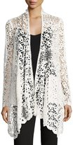 Neiman Marcus Cascade-Front Lace Cardigan, Ivory