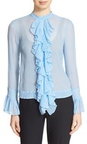 Tracy Reese Women's Ruffle Front Crinkled Silk Georgette Blouse