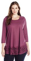 OneWorld Women's Plus Size Long Sleeve Pullover Solid Waffle Thermal Hoodie Top with Lace Hem
