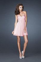 La Femme Glittering Sweetheart Mini Party Dress with Diamond Cutout Back 18177
