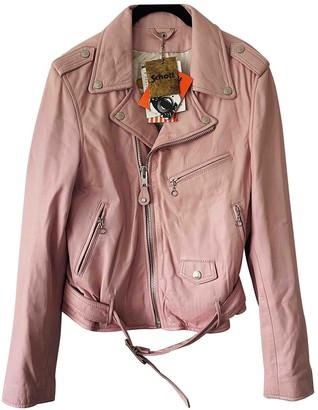 Schott Pink Leather Jacket for Women