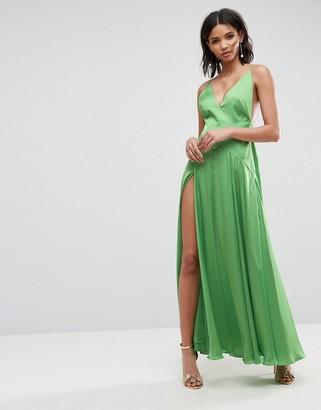 Asos Design ULTIMATE Cami Thigh Split Maxi Dress-Multi
