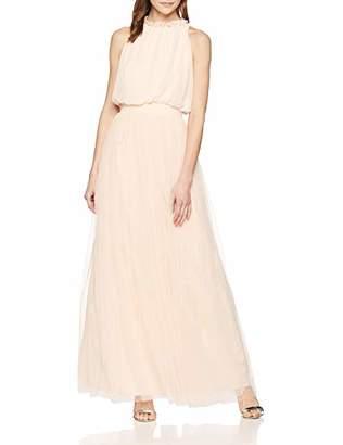 Little Mistress Women's Samantha Maxi Dress with Frill Cocktail Plain Crew Neck Sleeveless Dress,(Manufacturer Size:)