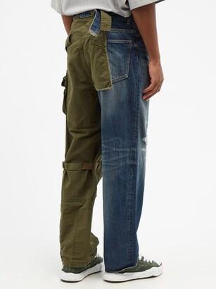 Miharayasuhiro Mihara Yasuhiro - Hybrid Denim And Canvas Relaxed-leg Jeans - Navy