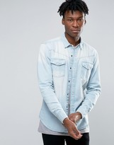 Pull&Bear Denim Shirt In Light Wash Blue In Regular Fit