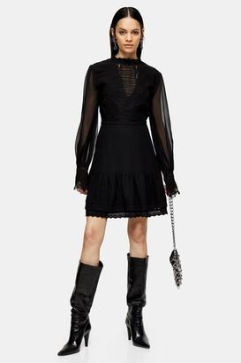 Topshop Womens Idol Black Lace Insert Mini Dress - Black