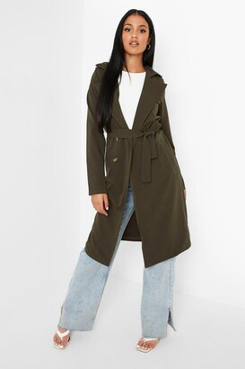 boohoo Tall Utility Button Detail Trench Coat