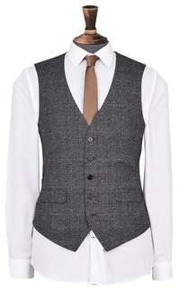 Dorothy Perkins Womens **Burton Grey And Camel Highlight Slim Fit Check Suit Waistcoat, Grey