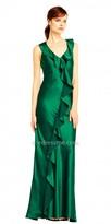 Aidan Mattox Satin Cascading Ruffle Asymmetrical Evening Dress