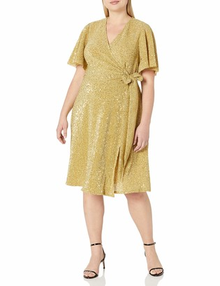 Donna Morgan Women's Plus Size Stretch Sequin Knit Faux Wrap Dress