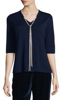 Lafayette 148 New York Chain-Trimmed Half-Sleeve Wool Sweater, Galaxy Blue
