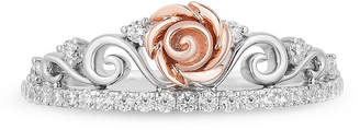 ENCHANTED FINE JEWELRY BY DISNEY Enchanted Disney Fine Jewelry Womens 1/4 CT. T.W. Genuine White Diamond 10K Rose Gold Beauty and the Beast Promise Ring