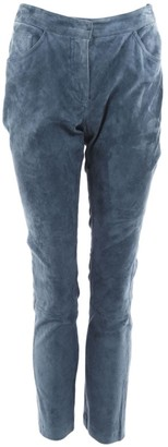 Christian Dior Blue Suede Trousers