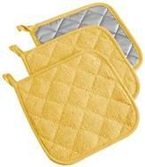 "DII 100% Cotton, Machine Washable, Heat Resistant, Everyday Kitchen Basic, Terry Pot Holder, 7 x 7"", Set of 3, Yellow"